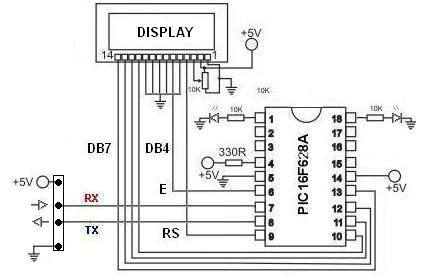 Circuito dispaplay serial pic16f628 Como utilizar Display LCD serial usando pic16F628A   By Lobosoft