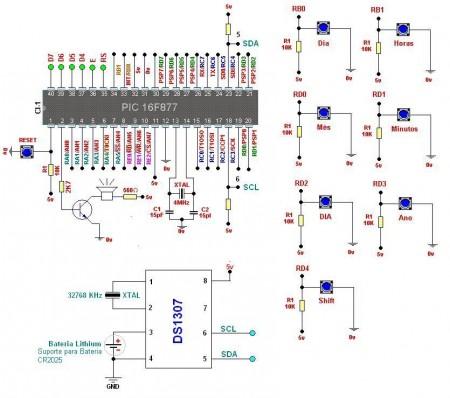 Circuito relogio  DS1307 450x398 Circuito de Relógio despertador usando pic16f877a e rtc ds1307 Pic Microcontroladores Dicas Circuitos