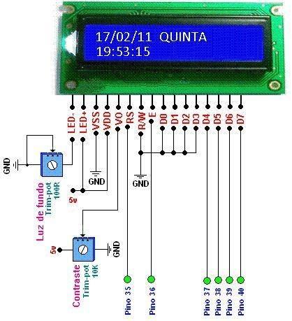 TELA1 apresentacao lcd Circuito de Relógio despertador usando pic16f877a e rtc ds1307 Pic Microcontroladores Dicas Circuitos