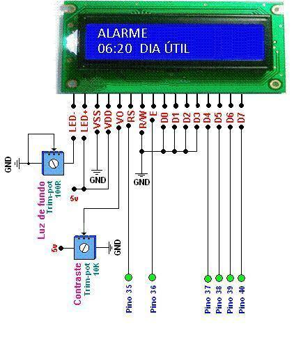TELA2 despertador lcd digital Circuito de Relógio despertador usando pic16f877a e rtc ds1307 Pic Microcontroladores Dicas Circuitos
