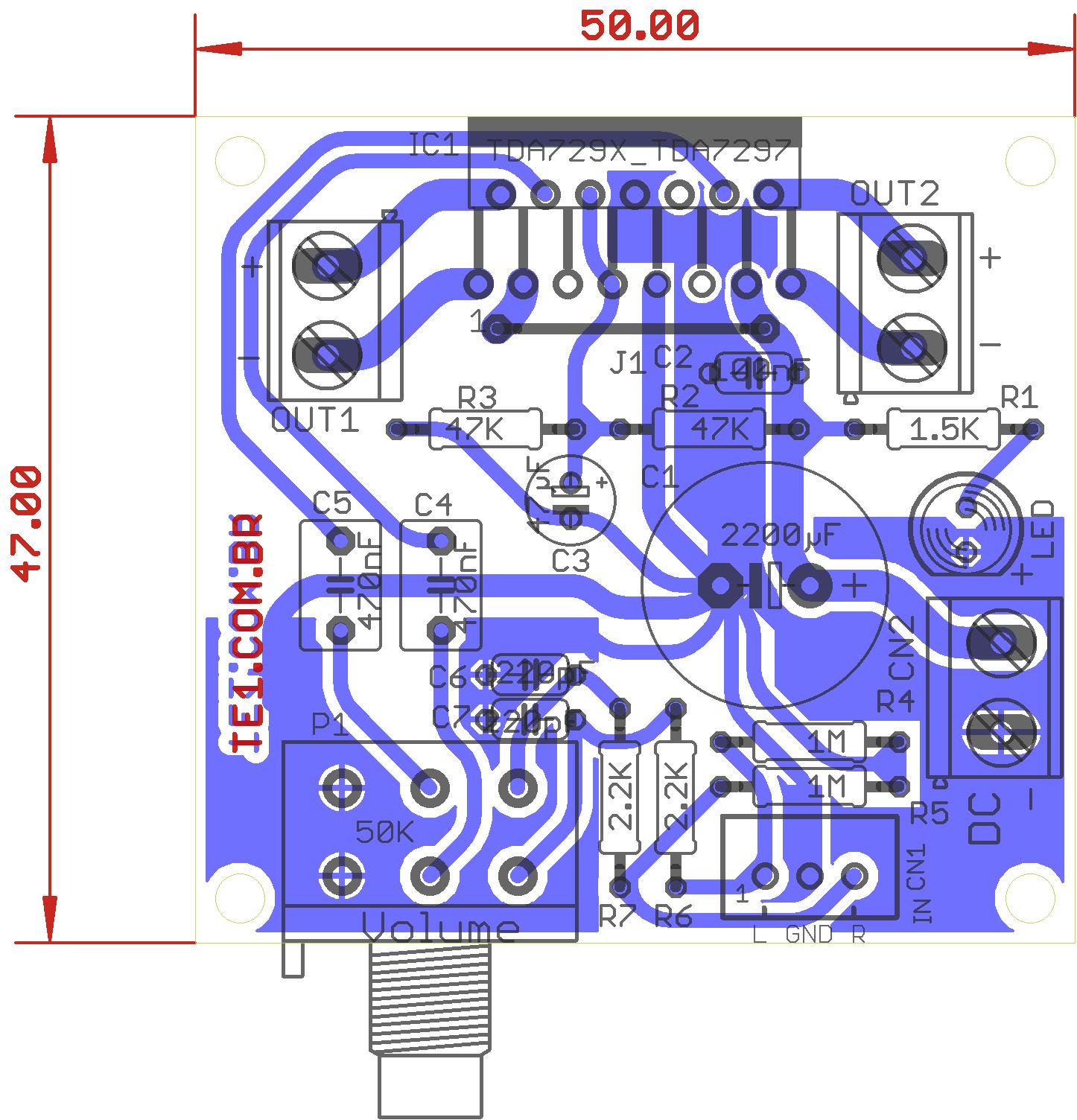 amplificador ci tda7297 estereo raio x Amplificador potência estéreo com TDA7297   2 X 15 Watts tda estéreo Circuitos