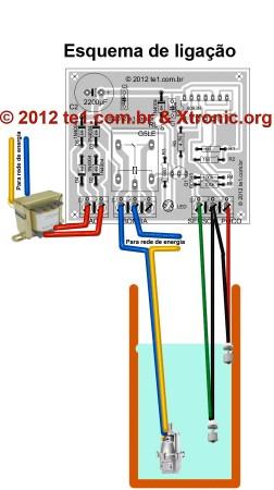 controle automatico nivel reservatorio como ligar 252x450 Circuito de controle automático de nível de reservatório   Sensores para Ligar e desligar a bomba de acordo com volume dágua no poço sensores Controle Circuitos