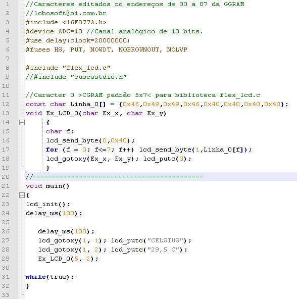 exemplo uso simbolo grau Download Editor de caracteres na GGRAM do LCD para compilador CCS Software de eletrônica Microcontroladores Download