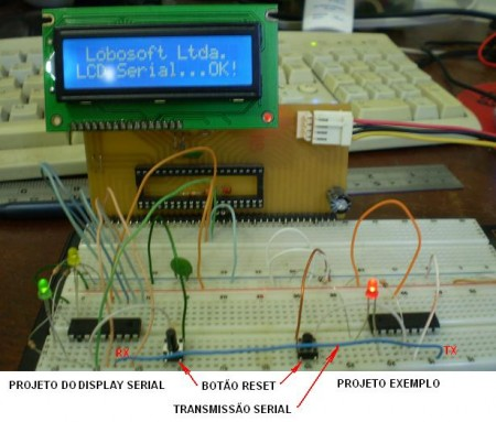 motangem teste display serial pic 450x383 Como utilizar Display LCD serial usando pic16F628A   By Lobosoft Tutoriais Software de eletrônica Pic Microcontroladores Download Dicas Circuitos