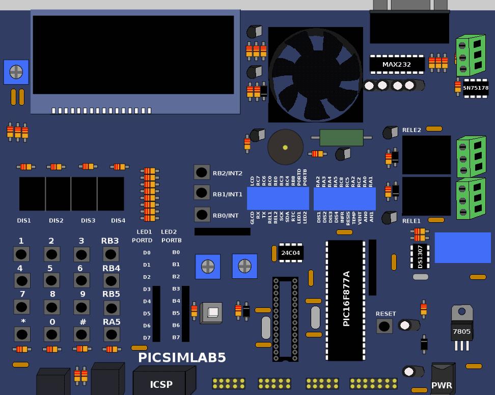 Download PICsim - Simulador de micrcontroladores PIC PIC16F628/, 16F877A, 18F452