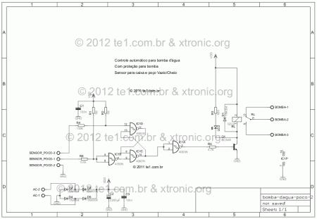 sensor automatico nivel reservatorio agua esquema 450x311 Circuito de controle automático de nível de reservatório sensores Controle Circuitos