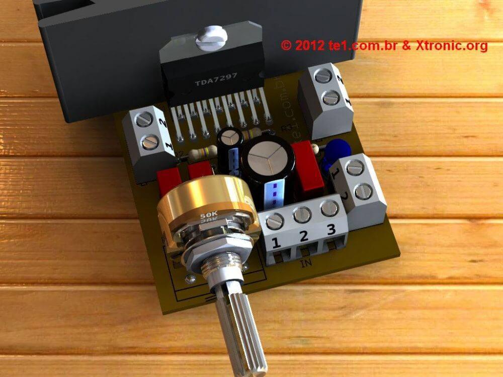 Imagem 3D da placa - By Eagle 3D + Megapov