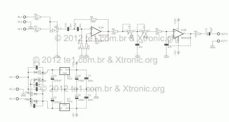 Ne5532 filtro grave esquema 450x241 Filtro de graves ajustável de 50HZ a 150Hz para Subwoofer Pré amplificadores Filtros Áudio