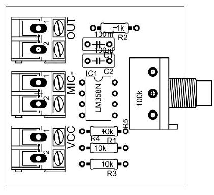 , Pre amplificador de microfone com lm358!