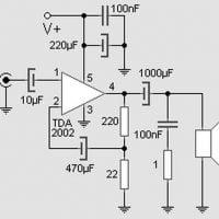 tda2002 amplificador audio esquema do amplificador utilizando TDA2002