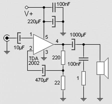 tda2002 amplificador audio 450x417 Amplificador de potência com TDA2002   8 Watts Vídeos tda Áudio