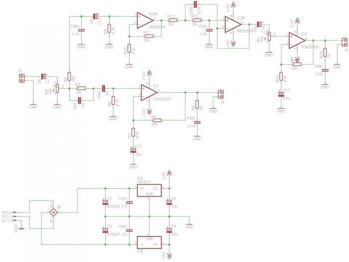 Circuito.png 700x525 Circuito de amplificador de áudio com TDA2050 – 2 x 18 Watts – Subwoofer tda Circuitos