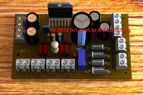Circuito de amplificador de áudio de potência dinâmico com tda7377