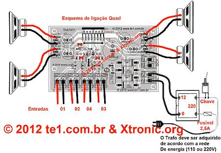Circuito de Amplificador de áudio de potência dinâmico com TDA7377 – 2X 30 Watts (Em ponte) ou 4X 10 Watts (Estéreo)