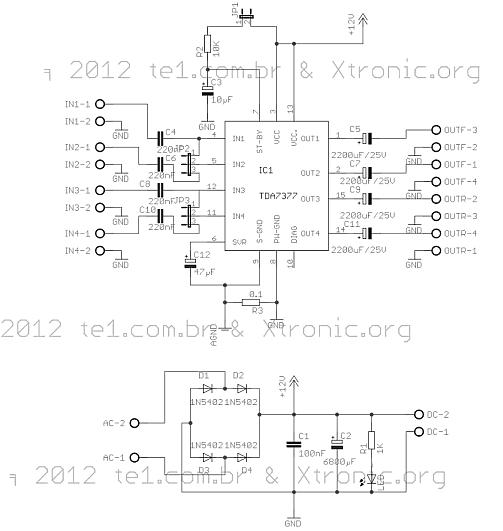 tda7377 amplificador audio potencia esquema 2 Circuito de Amplificador de áudio de potência dinâmico com TDA7377   2X 30 Watts (Em ponte) ou 4X 10 Watts (Estéreo) tda Circuitos Automotivo Áudio Amplificadores Amplificador potência amplificador estéreo amplificador de audio