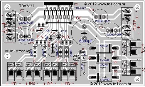 Sugestão de placa de Circuito Impresso para montagem do Amplificador de áudio com TDA7377