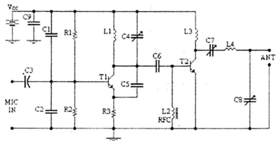 """, Circuito de Transmissor de FM potente de """"4 Watts"""" – Inclui desenho da placa"""