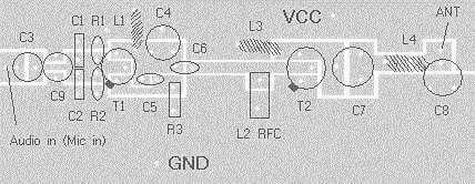 Sugestão de placa de circuito impresso para montar o transmissor