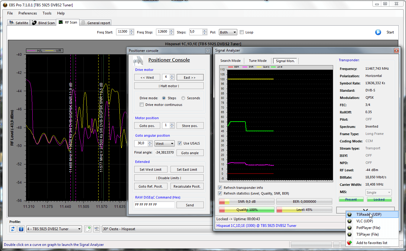 Software para fazer busca cega (blind scan) em placas DVB-S