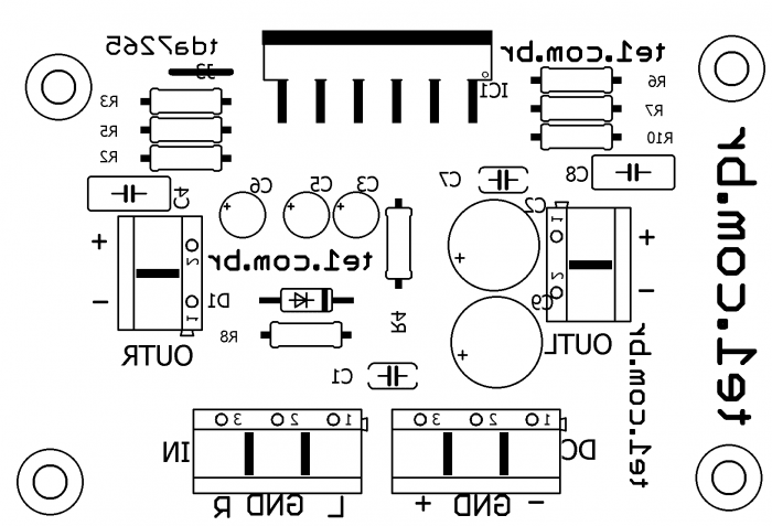 amplificador estereo tda7265 potencia silk 700x477 Circuito de amplificador de potência Estéreo com TDA7265 25 + 25 Watts tda Circuitos Áudio