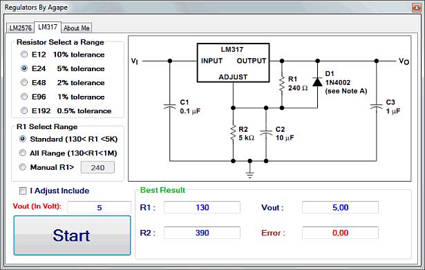 Regulator calculator lm2576 lm317