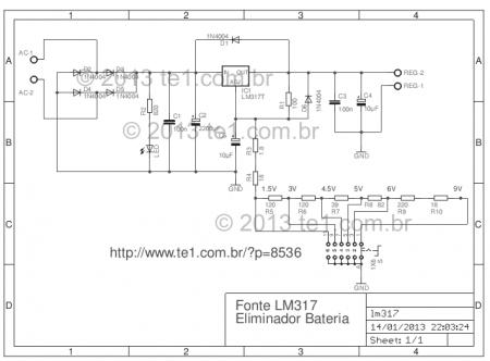 circuito eliminador pilhas baterias lm317 450x332 Circuito eliminador de pilhas e baterias  com Lm317 de 1.5 até 9 Volts Transformador led Fontes Dicas Circuitos