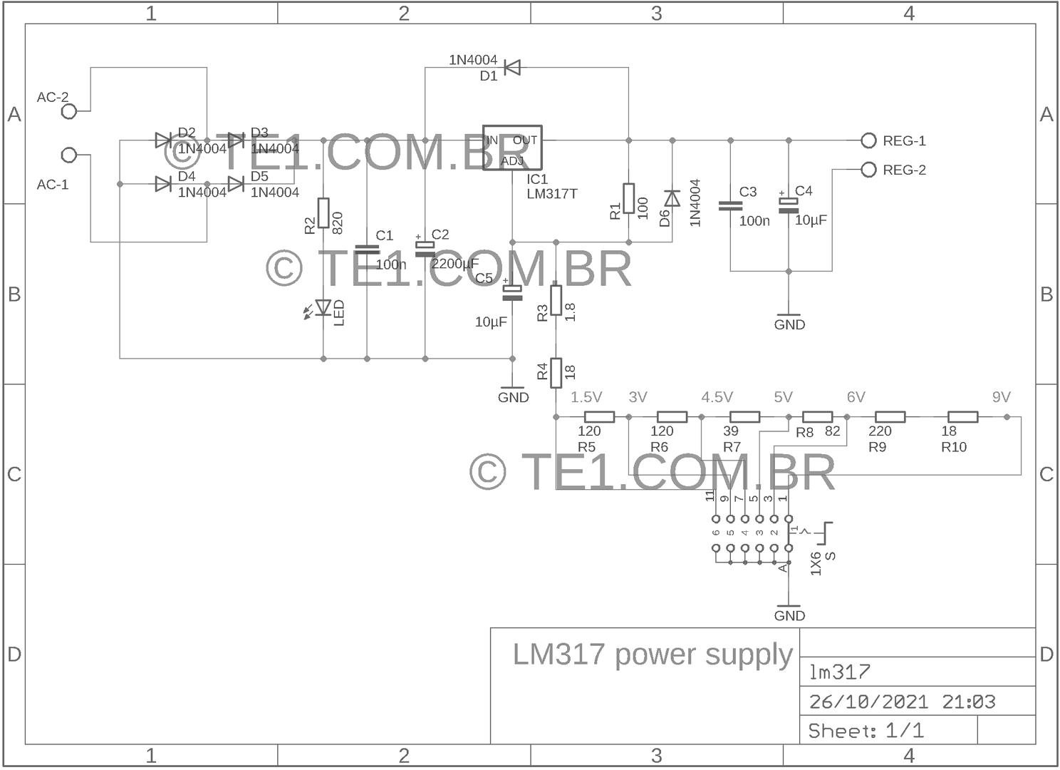 Circuito Lm317 : Circuito de eliminador pilhas e bateria com lm