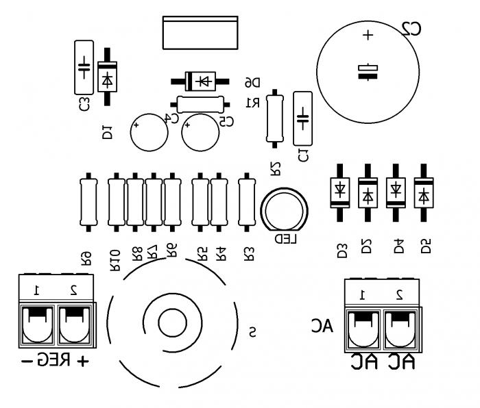 fonte lm317 ci regulada eliminador bateria silk 700x596 Circuito eliminador de pilhas e baterias  com Lm317 de 1.5 até 9 Volts Transformador led Fontes Dicas Circuitos