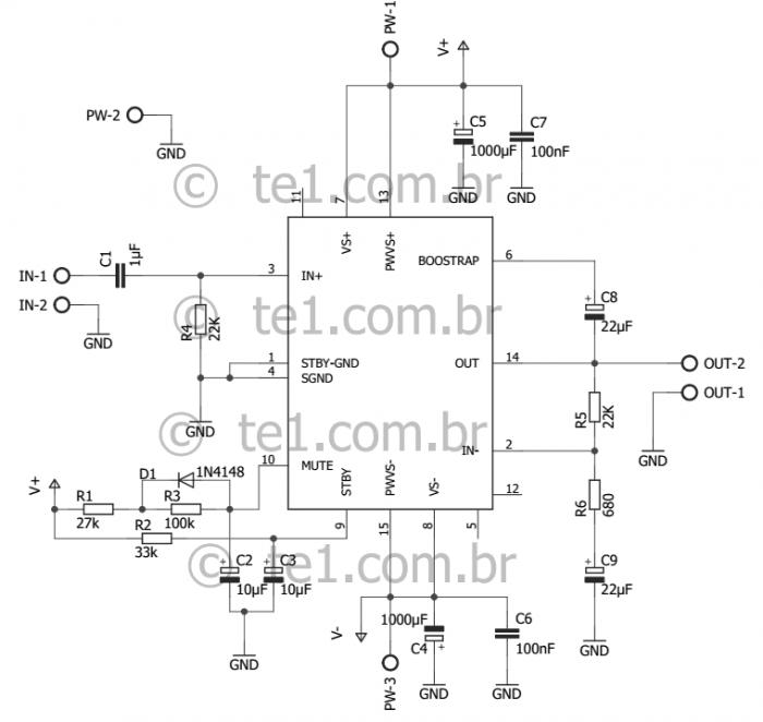 tda7296 esquema 700x662 Circuito de Amplificador potência com CI TDA7296 ou TDA7295 tda7294 tda potência Circuitos Amplificador