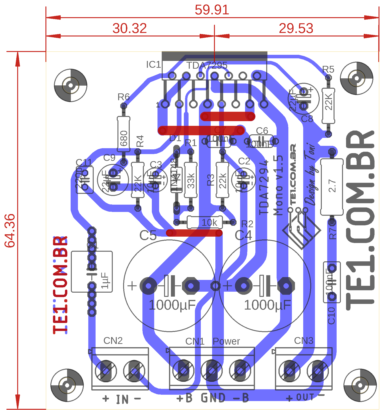 tda7296 pcb componentes Circuito de Amplificador potência com CI TDA7296 ou TDA7295 tda7294 tda potência Circuitos Amplificador