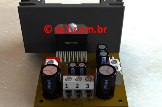 Amplificador potência com circuito integrado tda7296 ou tda7295