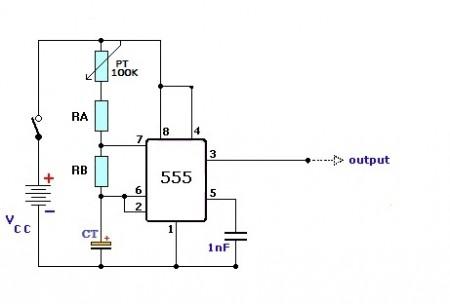 circuito oscilador regulavel 450x304 Estrobo de leds com 555 e transistor BC547 Iluminação