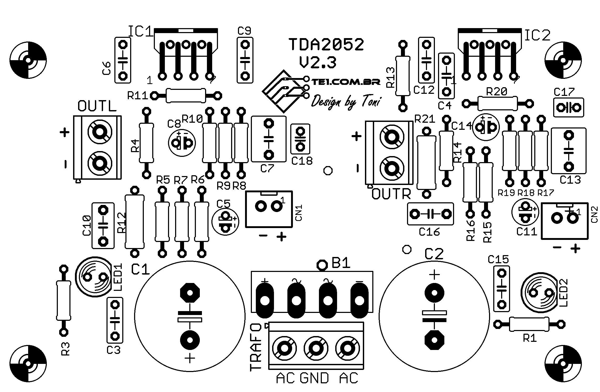 tda2052 amplificador audio 60 watts placa silk Circuito de Amplificador de potência de  áudio com TDA2052 60 Watts tda Circuitos Áudio