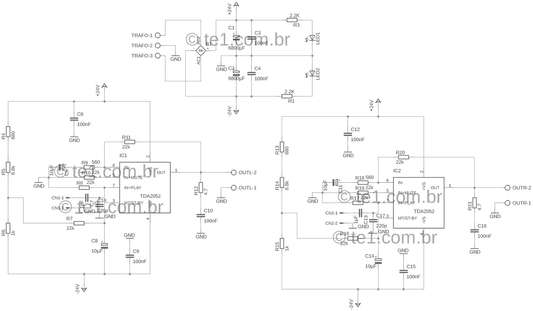 , Circuito de Amplificador de potência de áudio com TDA2052 60 Watts