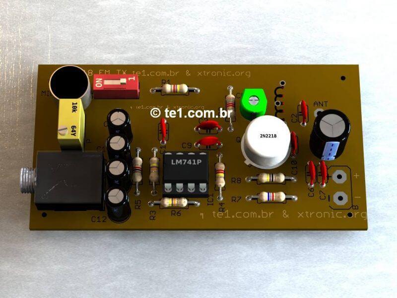 Transmissor De Fm Com 2N2218 Fm 741 Op Amp Potente 1Km