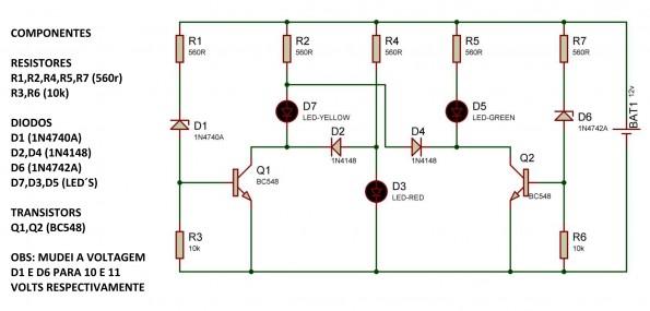 TESTE ISIS 595x285 Iniciante   Teste bateria automotiva   Agora com desenho da PCB led circuito Automotivo