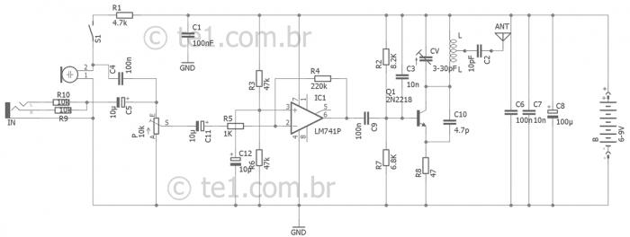circuito transmissor fm 2n2218 lm741 700x264 Circuito de transmissor de FM com 2n2218 para celular Transmissores Fm Transmissores e RF Transmissores Circuitos Áudio