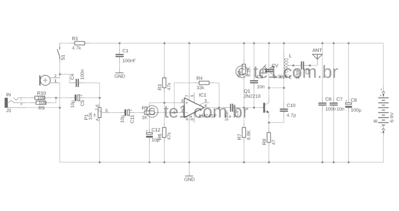 Esquema Circuito De Transmissor De Fm Com 2N2218 Para Celular