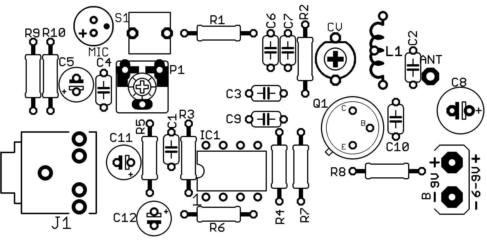, Circuito de transmissor de FM com 2n2218 para celular