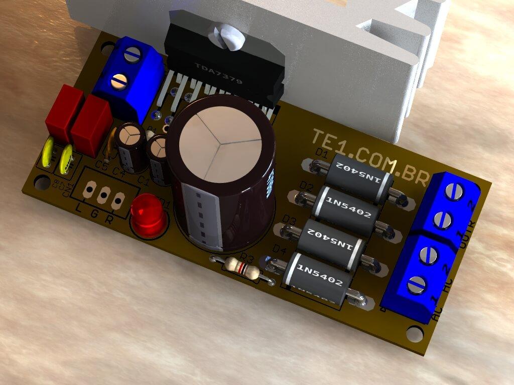 potência de aúdio estéreo compacto utilizando circuito integrado TDA7379