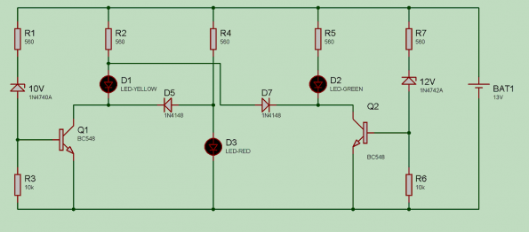 teste pratico bateria carro automotiva led bc548 595x262 Iniciante   Teste bateria automotiva   Agora com desenho da PCB led circuito Automotivo