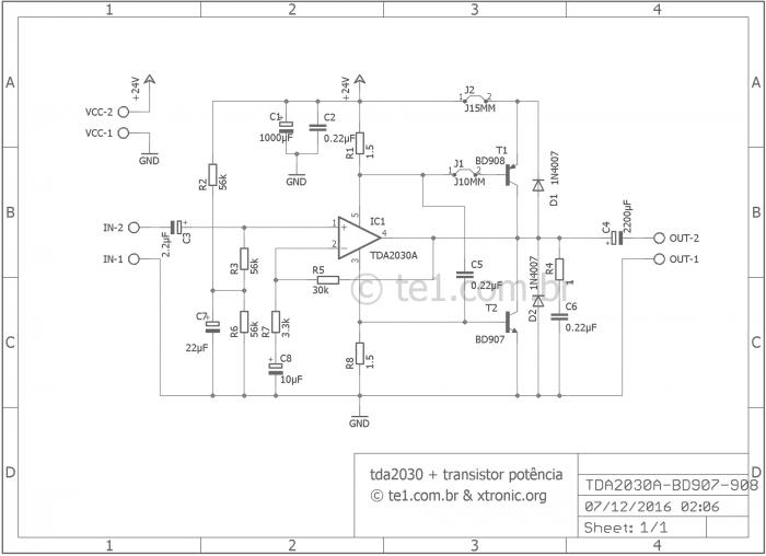tda2030 40 watt amplifier transistor power esquem 700x508 Amplificador potência TDA2030 + transistores TIP41 e TIP42 tda Circuitos Áudio