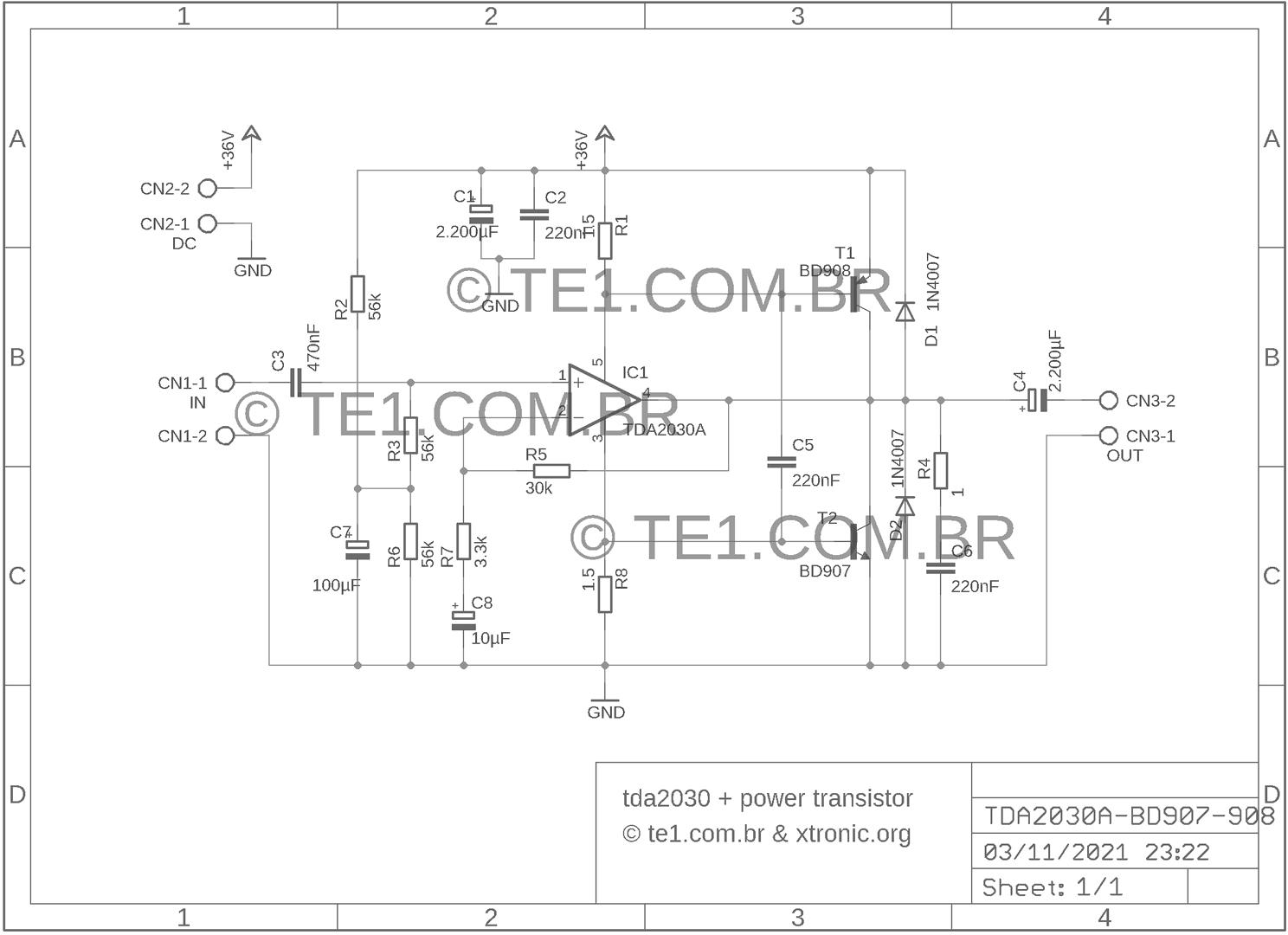 Amplificador De Potncia Com Tda2030 Transistores 20w Power Amplifier Circuit Based Tda2040 Audio 40 Watt Transistor Esquem 700x508 Tip41 E Tip42