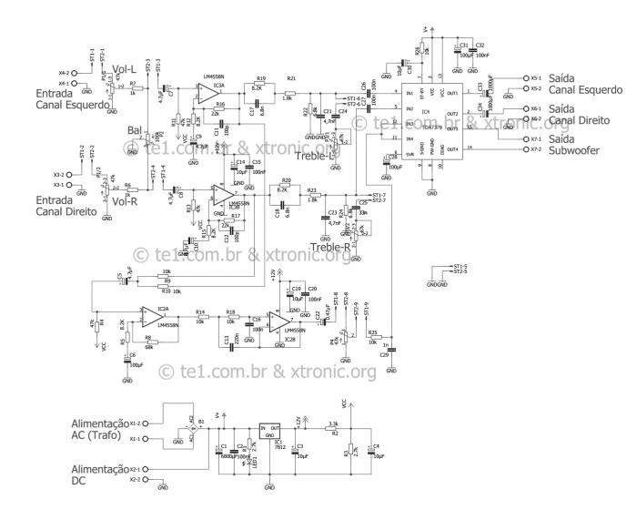 tda7377 2.1 esquema 30 watts amplificador potencia 1 700x560 Circuito de amplificador de potência de áudio 2.1 com TDA7377   Estéreo + Subwoofer tda Pré amplificadores Circuitos Áudio
