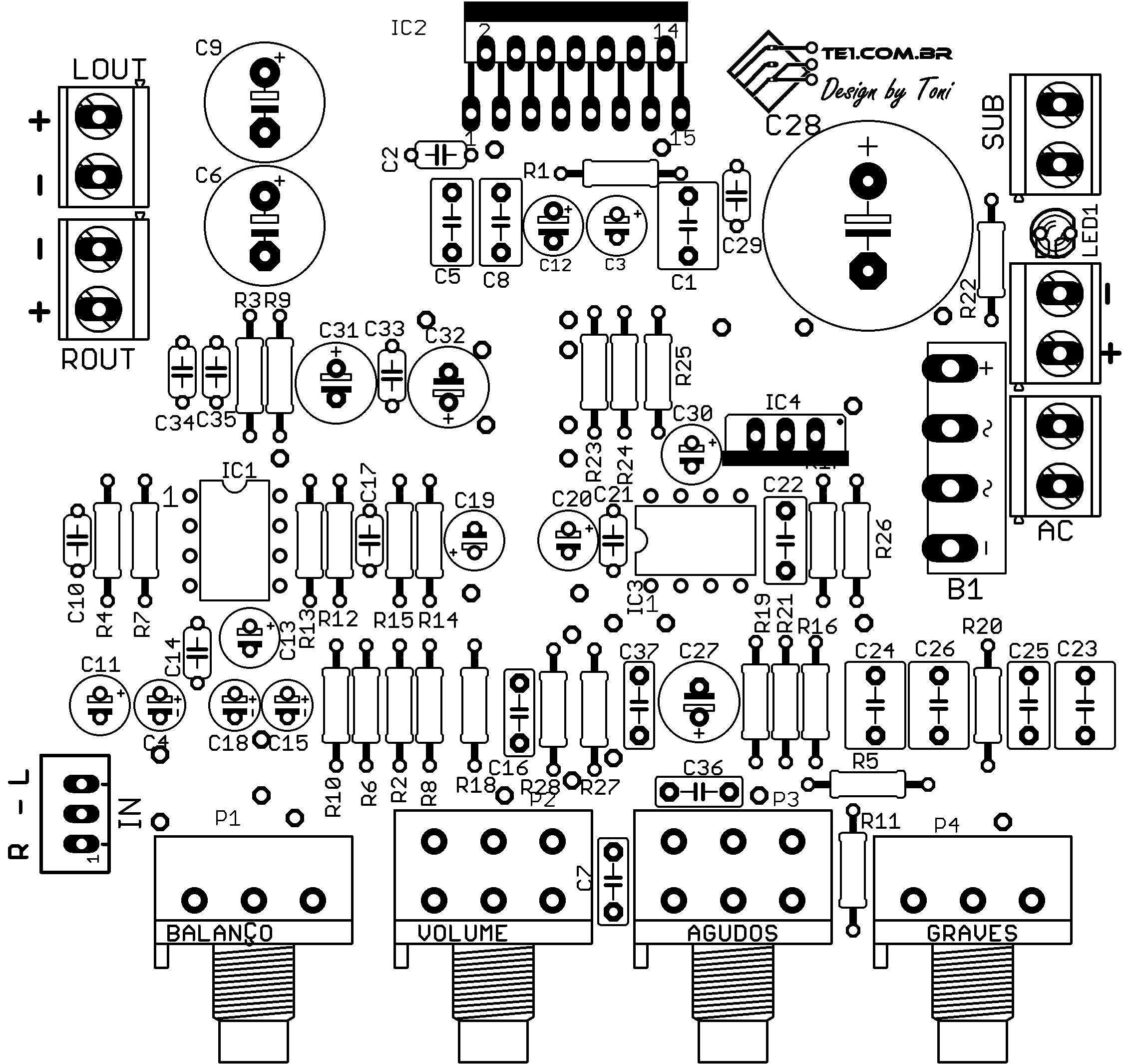 circuit diagram image  amplificador 21 com integrado tda7377 subwoofer toni  eletronica one
