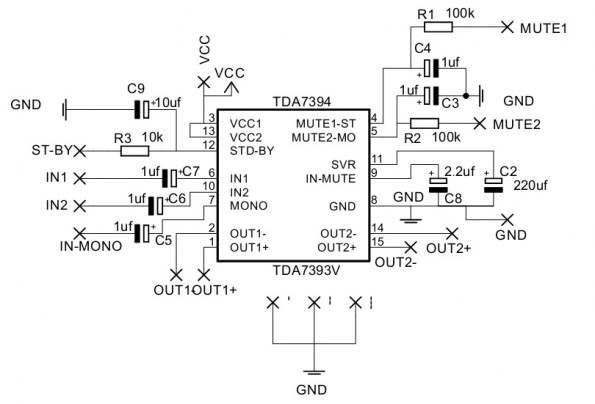 esquema 595x404 Amplificador 2 x 30w  com TDA7394!