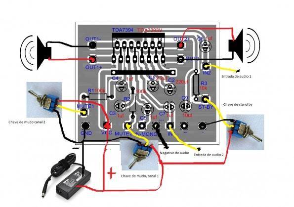 ligações1 595x419 Amplificador 2 x 30w  com TDA7394!