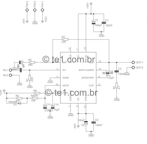 tda7293 minimus tda7294 amplificador esquema 510x500 #Minimus Power   Amplificador de potência com circuito integrado TDA7293 ou TDa7294 tda7294 tda Circuitos Áudio Amplificadores e Áudio Amplificadores Amplificador potência amplificador de audio amplificador compacto