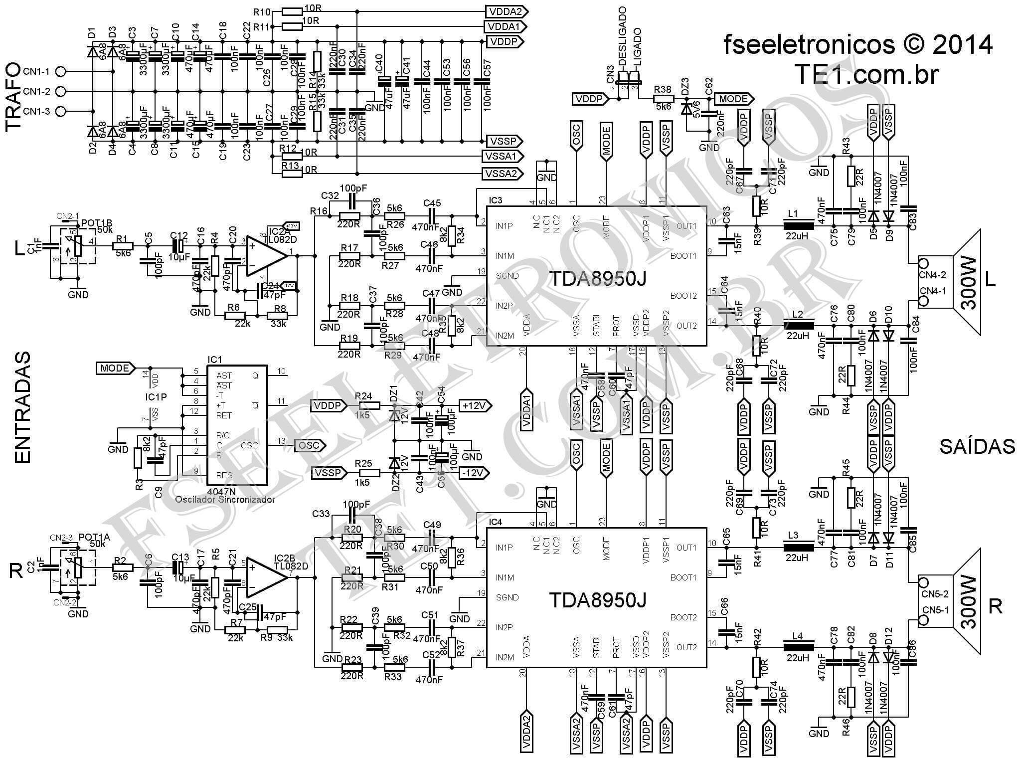 TDA8950J 2x300W esquema imagem