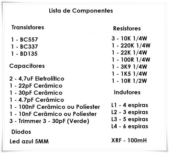 LISTA DE COMPONENTES 552x500 Super Transmissor de Fm   1 à 3W